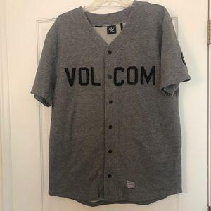 Volcom baseball jersey black grey size large